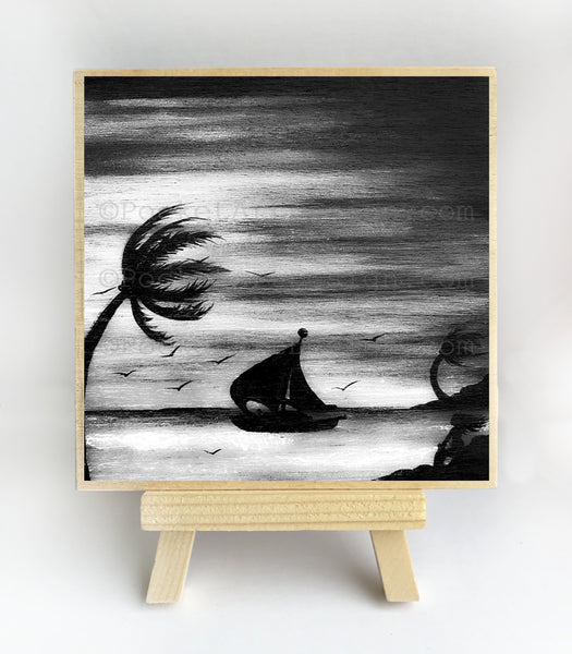 Girl watching a sailing boat - black and white - night - silhouette - original miniature art print on 4 x 4 wood-Print-Easel Wood-PocketArtDesigns-Original Art-wall rt