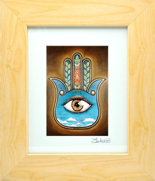 Blessing Hamsa - Symbol of protraction  Original art metallic print - 8x10 or 11x14 - with wood frame
