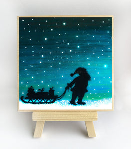 Santa carry Christmas presents - night - silhouette - original miniature art print on 4 x 4 wood-Print-Easel Wood-PocketArtDesigns-Original Art-wall rt