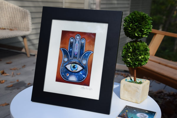 Luck Hamsa - Symbol of protraction  Original art metallic print - 8x10 or 11x14 - with wood frame