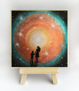 Mother and child - colorful night - silhouette - original miniature art print on 4 x 4 wood-Print-Easel Wood-PocketArtDesigns-Original Art-wall rt