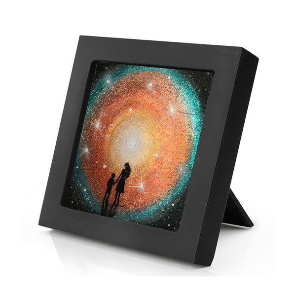 Mother and child - colorful night - silhouette - original miniature art print on 4 x 4 wood-Print-Mini Frame (+$5.00)-PocketArtDesigns-Original Art-wall rt
