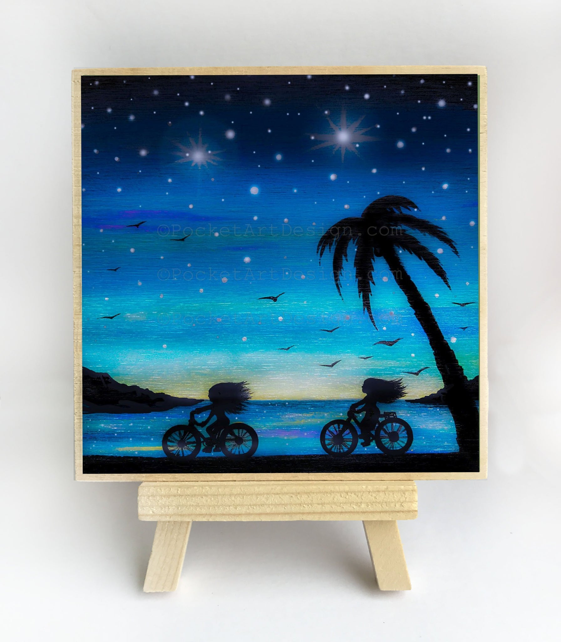 Girls riding bicycles - night - silhouette - original miniature art print on 4 x 4 wood-Print-Easel Wood-PocketArtDesigns-Original Art-wall rt