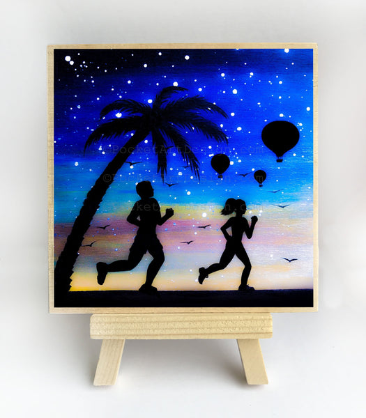 Running with hot air balloon in the background - night - silhouette - original miniature art print on 4 x 4 wood-Print-Easel Wood-PocketArtDesigns-Original Art-wall rt