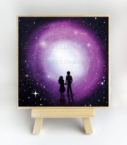 Girl and boy walking to the light - silhouette - original miniature art print on 4 x 4 wood-Print-Easel Wood-PocketArtDesigns-Original Art-wall rt