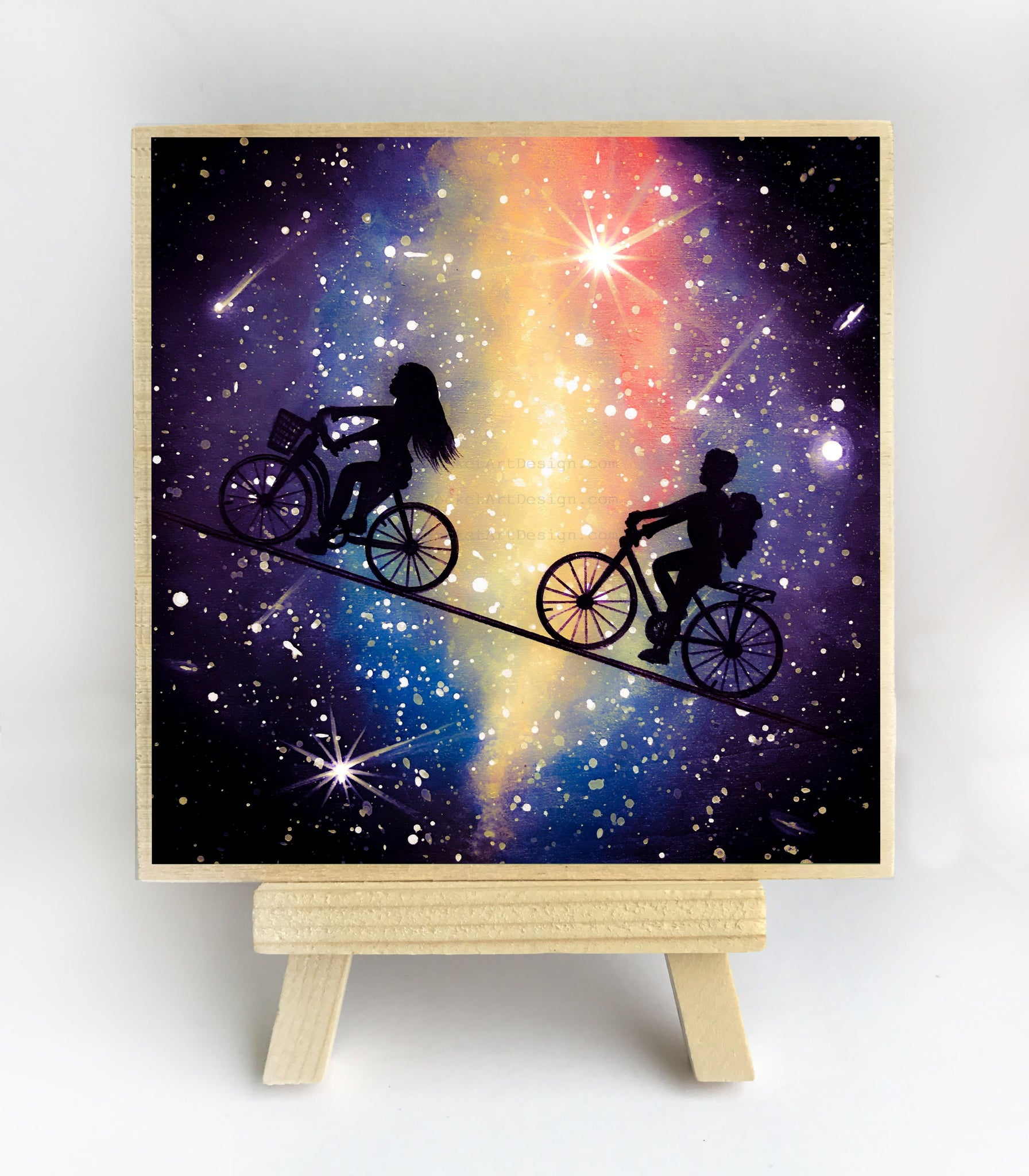 Riding bicycles in the sky - night - silhouette - original miniature art print on 4 x 4 wood-Print-Easel Wood-PocketArtDesigns-Original Art-wall rt