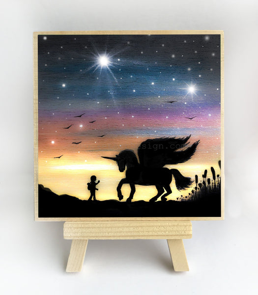 Unicorn - silhouette - original miniature art print on 4 x 4 wood-Print-Easel Wood-PocketArtDesigns-Original Art-wall rt
