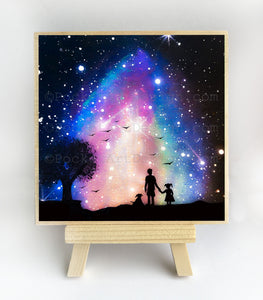 Father, girl and dog watching the starts - night - silhouette - original miniature art print on 4 x 4 wood-Print-Easel Wood-PocketArtDesigns-Original Art-wall rt