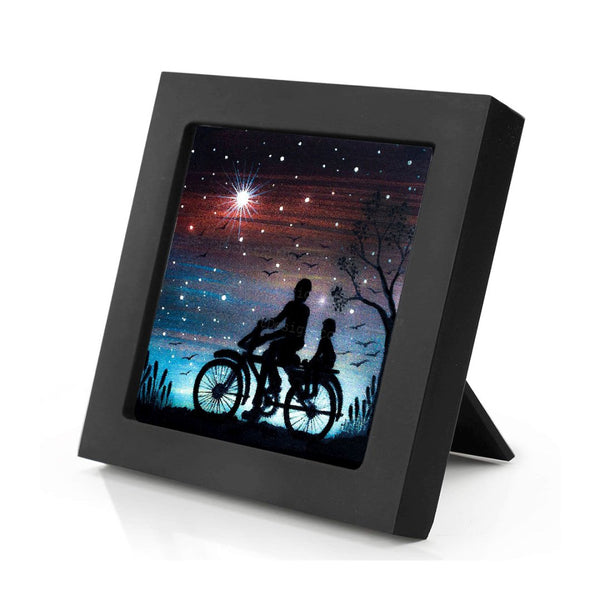 Father and boy riding bicycle - night - silhouette - original miniature art print on 4 x 4 wood-Print-Mini Frame (+$5.00)-PocketArtDesigns-Original Art-wall rt