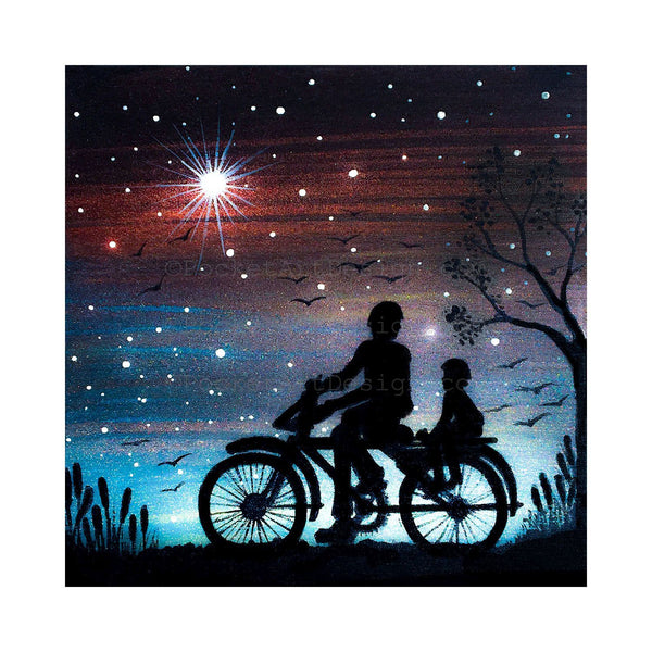 Father and boy riding bicycle - night - silhouette - original miniature art print on 4 x 4 wood-Print-Easel Wood-PocketArtDesigns-Original Art-wall rt