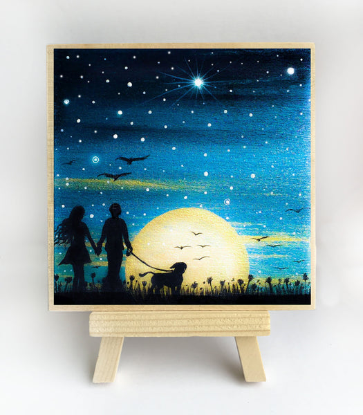 Couple and a dog - full moon - silhouette - original miniature art print on 4 x 4 wood-Print-Easel Wood-PocketArtDesigns-Original Art-wall rt