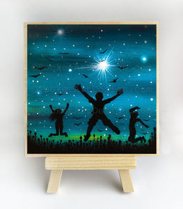 Happy people jumping - night - silhouette - original miniature art print on 4 x 4 wood-Print-Easel Wood-PocketArtDesigns-Original Art-wall rt