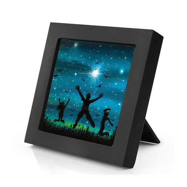 Happy people jumping - night - silhouette - original miniature art print on 4 x 4 wood-Print-Mini Frame (+$5.00)-PocketArtDesigns-Original Art-wall rt