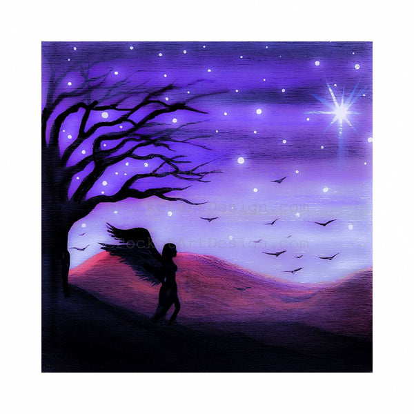 "Girl with wings - night - silhouette - Original miniature art Print on 4""x 4"" wood-Print-Easel Wood-PocketArtDesigns-Original Art-wall rt"