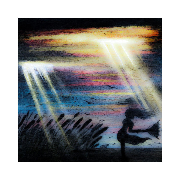 "Girl holding umbrella in a storm - night - silhouette - Original miniature art Print on 4""x 4"" wood-Print-Easel Wood-PocketArtDesigns-Original Art-wall rt"