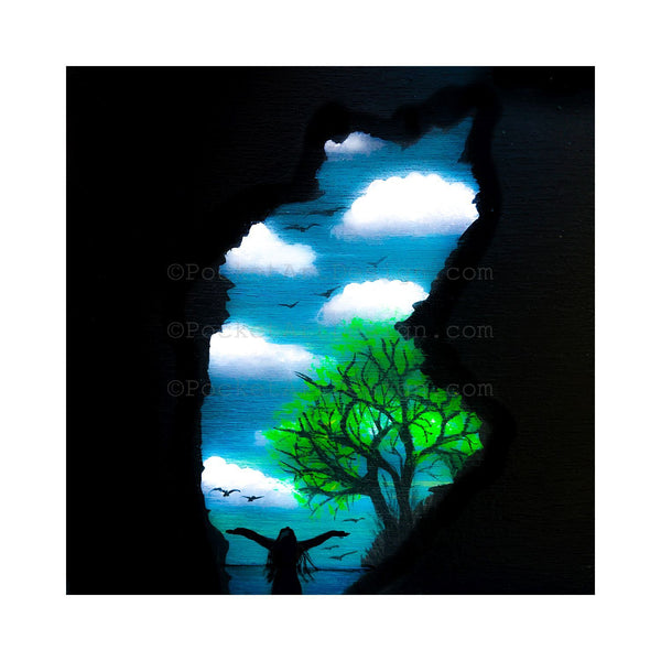 "Self portrait - hawaii cave - night - silhouette - Original miniature art Print on 4""x 4"" wood-Print-Easel Wood-PocketArtDesigns-Original Art-wall rt"
