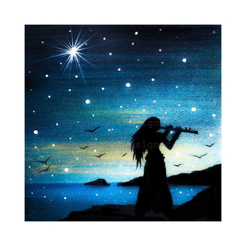 "Girl playing the flute - night - silhouette - Original miniature art print on 4""x 4"" wood-Print-Easel Wood-PocketArtDesigns-Original Art-wall rt"