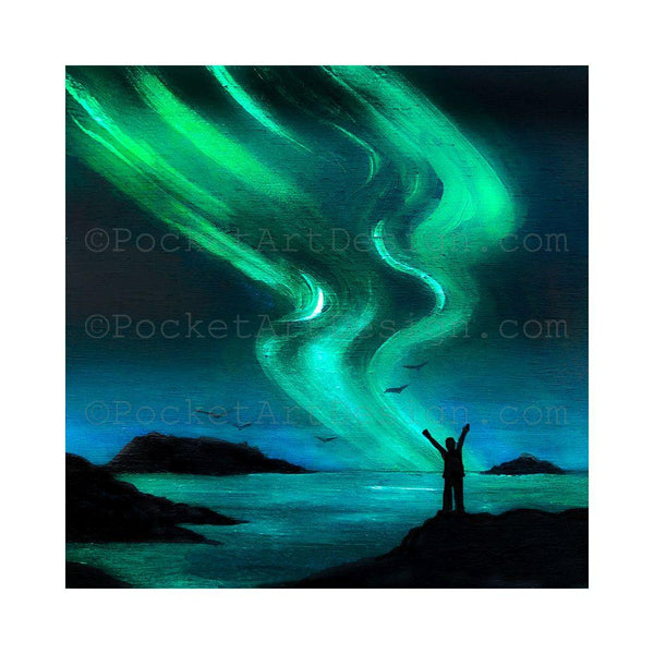 "Girl in front of the ocean embracing the northern light - silhouette - Original miniature art Print on 4""x 4"" wood-Print-Easel Wood-PocketArtDesigns-Original Art-wall rt"