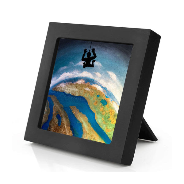 "Sky diving - night - silhouette - Original miniature art print on 4""x 4"" wood-Print-Mini Frame (+$5.00)-PocketArtDesigns-Original Art-wall rt"