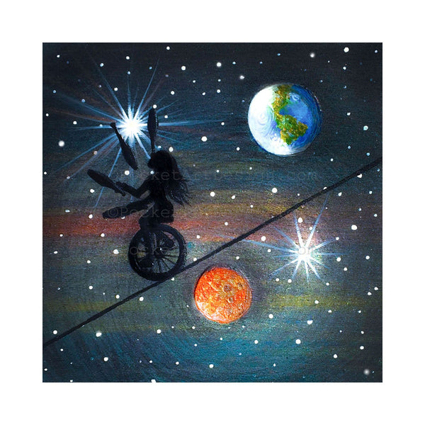 "Girl gaggling on unicycle - night - silhouette - Original miniature art print on 4""x 4"" wood-Print-Easel Wood-PocketArtDesigns-Original Art-wall rt"