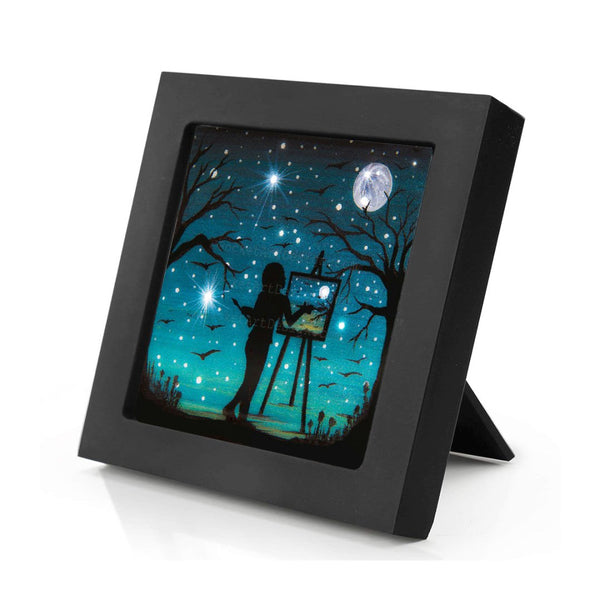 "Girl painting the moon - night - silhouette - Original miniature art print on 4""x 4"" wood-Print-Mini Frame (+$5.00)-PocketArtDesigns-Original Art-wall rt"