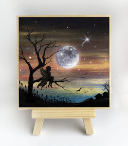 "Fairy sitting on a tree - night - silhouette - Original miniature art Print on 4""x 4"" wood-Print-Easel Wood-PocketArtDesigns-Original Art-wall rt"