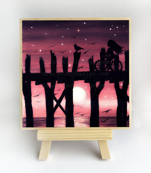 "Girl riding bicycle - night - silhouette - Original miniature art print on 4""x 4"" wood-Print-Easel Wood-PocketArtDesigns-Original Art-wall rt"
