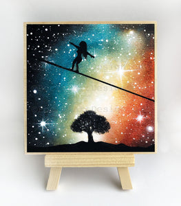 "Girl walking on a wire - windy night - silhouette - Original miniature art Print on 4""x 4"" wood-Print-Easel Wood-PocketArtDesigns-Original Art-wall rt"