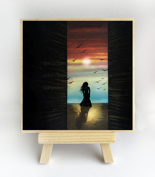 "Girl through door - sunset - silhouette - Original miniature art print on 4""x 4"" wood-Print-Easel Wood-PocketArtDesigns-Original Art-wall rt"