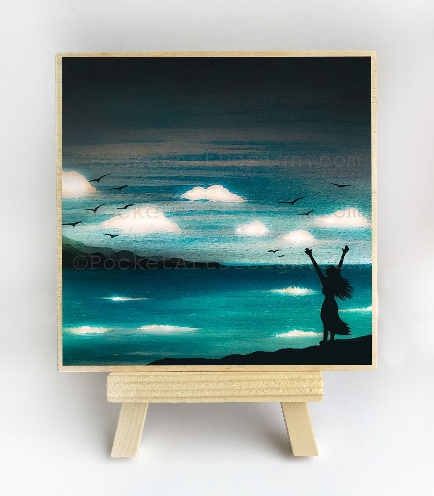"Girl in front of the ocean - night - silhouette - Original miniature art Print on 4""x 4"" wood-Print-Easel Wood-PocketArtDesigns-Original Art-wall rt"