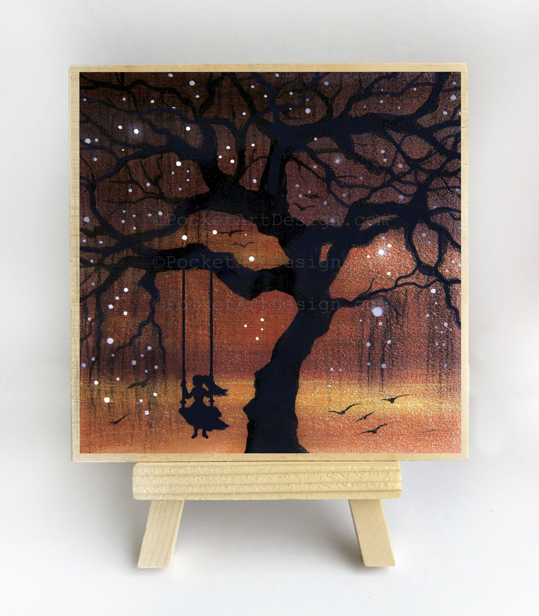 "Girl swing - sunset - silhouette - Original miniature art print on 4""x 4"" wood-Print-Easel Wood-PocketArtDesigns-Original Art-wall rt"