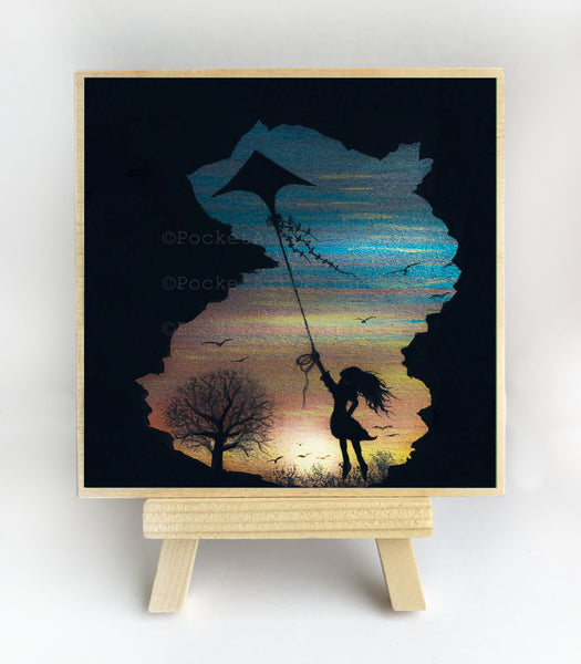 "Girl flying with a kite - night - silhouette - Original miniature art print on 4""x 4"" wood-Print-Easel Wood-PocketArtDesigns-Original Art-wall rt"