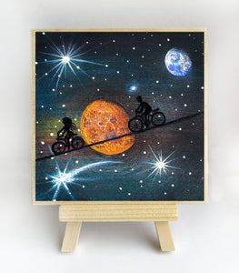 "Girl and boy riding in space - night - silhouette - Original miniature art print on 4""x 4"" wood-Print-Easel Wood-PocketArtDesigns-Original Art-wall rt"