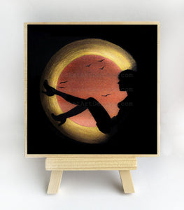 "Girl sitting - night - silhouette - Original miniature art print on 4""x 4"" wood-Print-Easel Wood-PocketArtDesigns-Original Art-wall rt"