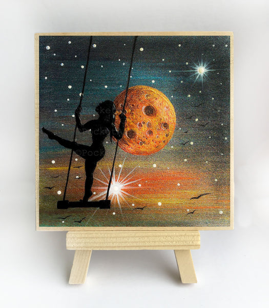 "Girl swing in space - night - silhouette - Original miniature art print on 4""x 4"" wood-Print-Easel Wood-PocketArtDesigns-Original Art-wall rt"