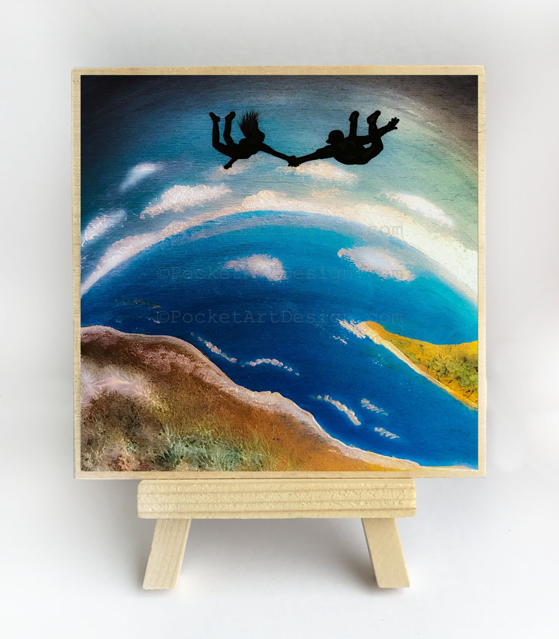 "Girl and a boy flying in the sky holding hands - night - silhouette - Original miniature art Print on 4""x 4"" wood-Print-Easel Wood-PocketArtDesigns-Original Art-wall rt"