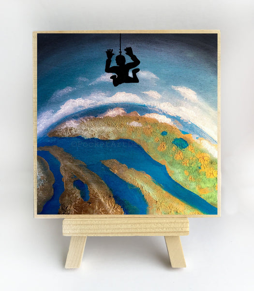 "Sky diving - night - silhouette - Original miniature art print on 4""x 4"" wood-Print-Easel Wood-PocketArtDesigns-Original Art-wall rt"