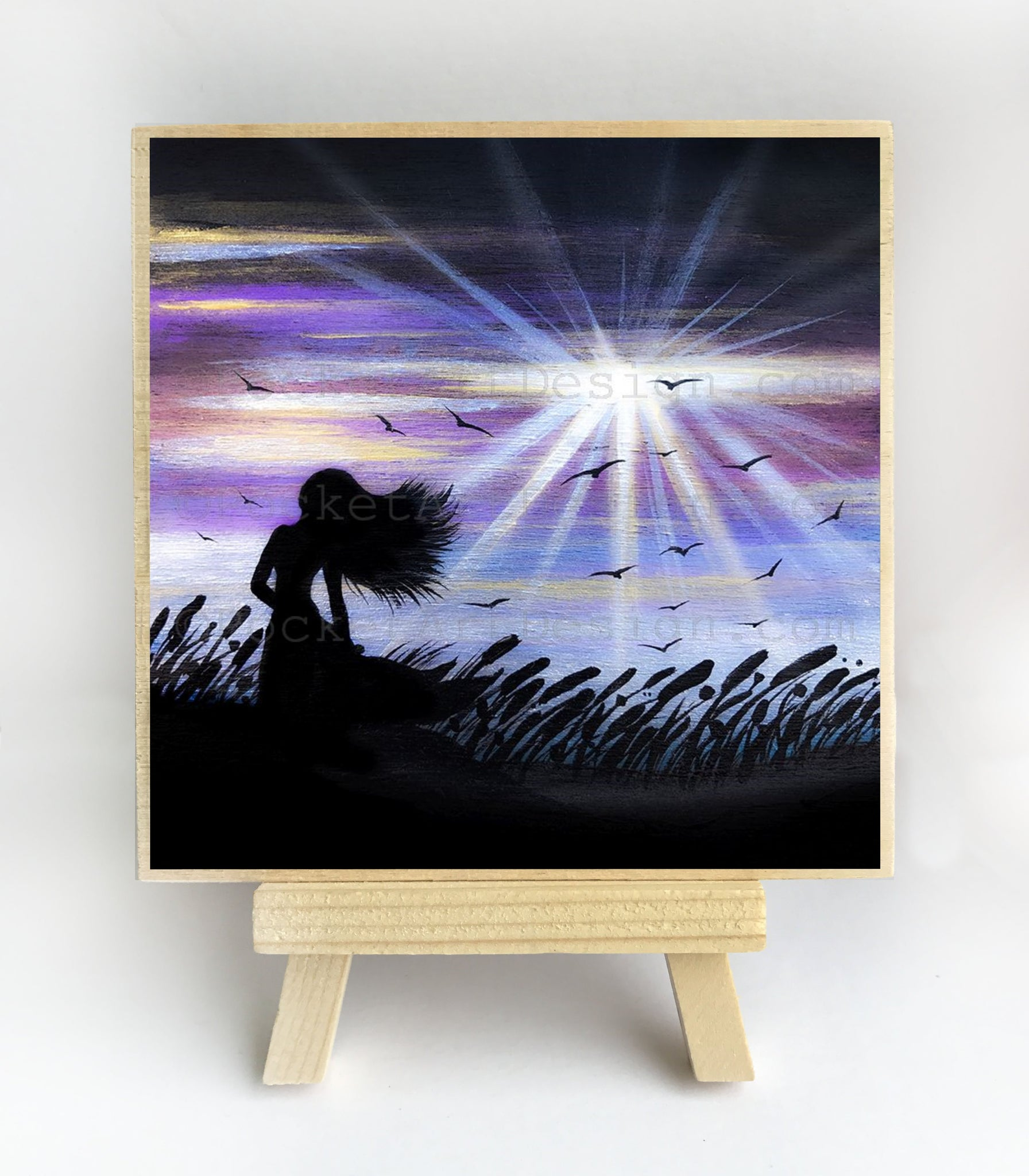 "Girl in a field - windy night - silhouette - Original miniature art Print on 4""x 4"" wood-Print-Easel Wood-PocketArtDesigns-Original Art-wall rt"