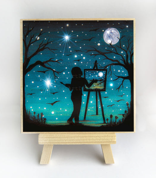 "Girl painting the moon - night - silhouette - Original miniature art print on 4""x 4"" wood-Print-Easel Wood-PocketArtDesigns-Original Art-wall rt"