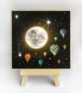 Hot air balloons - full moon - original miniature art print on 4 x 4 wood-Print-Easel Wood-PocketArtDesigns-Original Art-wall rt