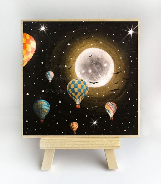 Hot air balloons - full moon - silhouette - original miniature art print on 4 x 4 wood-Print-Easel Wood-PocketArtDesigns-Original Art-wall rt