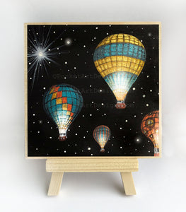 Hot air balloons - night - original miniature art print on 4 x 4 wood-Print-Easel Wood-PocketArtDesigns-Original Art-wall rt