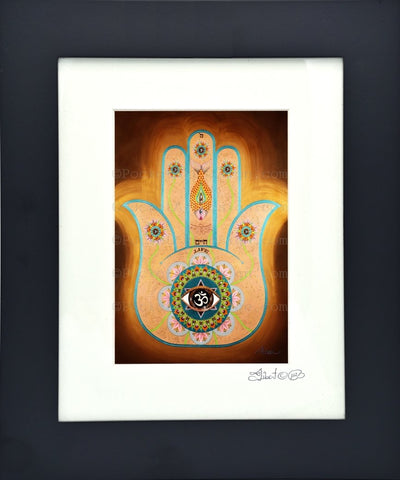 Life Hamsa - Symbol of protraction  Original art metallic print - 8x10 or 11x14 - with wood frame