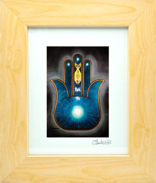 Light Hamsa - Symbol of protraction  Original art metallic print - 8x10 or 11x14 - with wood frame