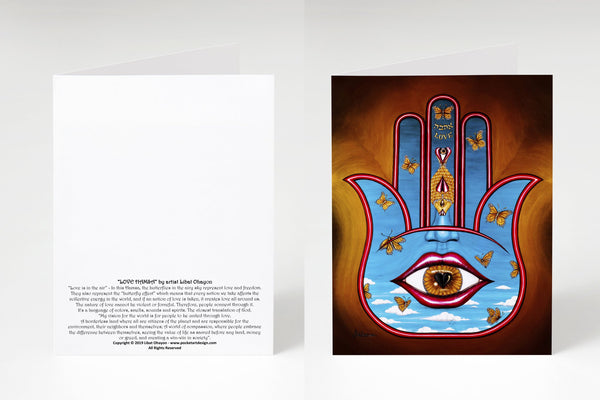 Hamsa inspirational symbol of protection note cards 5 designs blank inside Box of 10 with envelopes
