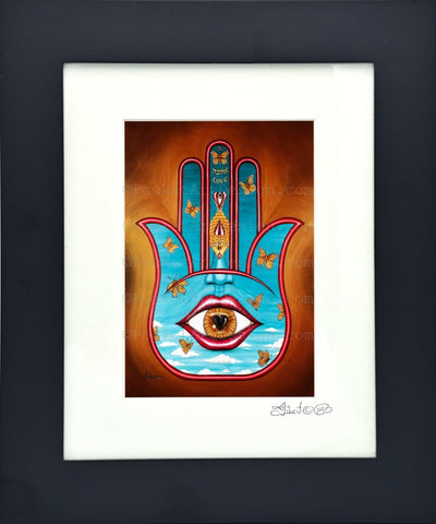 Love Hamsa - Symbol of protraction  Original art metallic print - 8x10 or 11x14 - with wood frame