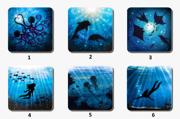Set of 4 Variety Underwater Coasters