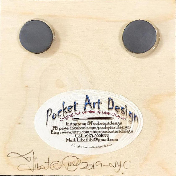 Girl swing on a palm tree in front of the ocean - silhouette - original miniature art print on 4 x 4 wood-Print-Magnet Back-PocketArtDesigns-Original Art-wall rt