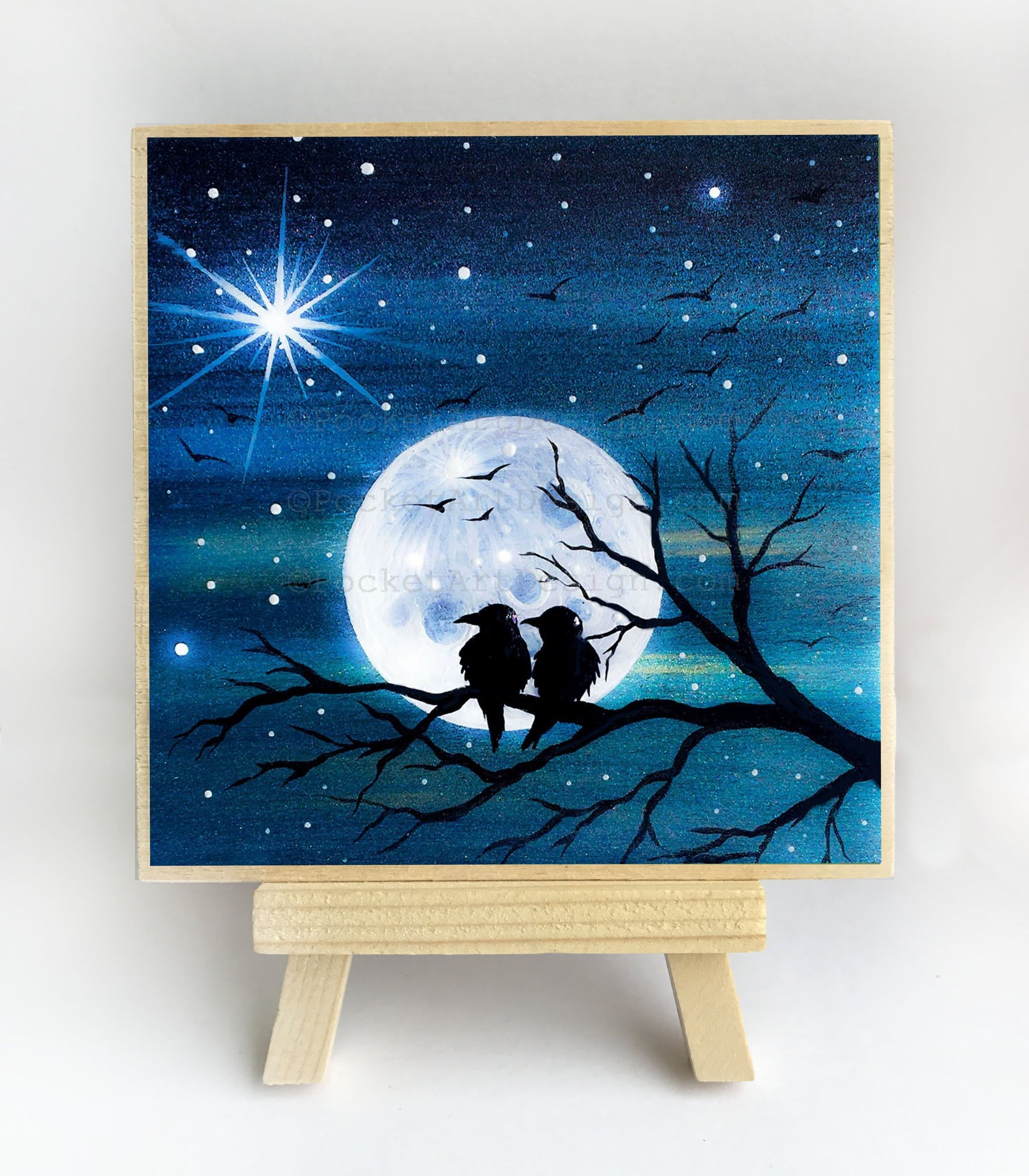 Birds on a tree branch - full moon night - original miniature art print on 4 x 4 wood-Print-Easel Wood-PocketArtDesigns-Original Art-wall rt