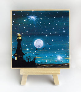Light house - full moon - silhouette - original miniature art print on 4 x 4 wood-Print-Easel Wood-PocketArtDesigns-Original Art-wall rt